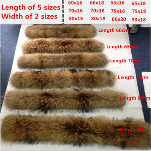 Image 4 - Real Raccoon Fur Collar Luxury Natural Fur 100% Scarf Desigual Scarves Foulard Neck Warmers Hooded Women Winter Down Coat #BF01