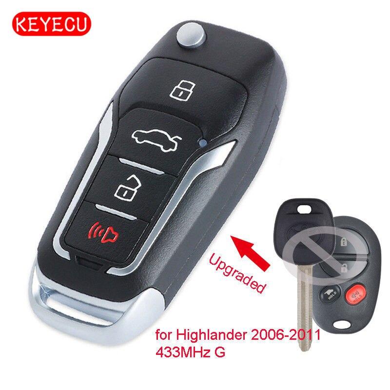 Keyecu Upgraded Folding Remote Key Fob 433MHz G Chip 4 Button for Autralian Toyota Highlander 2006-2011
