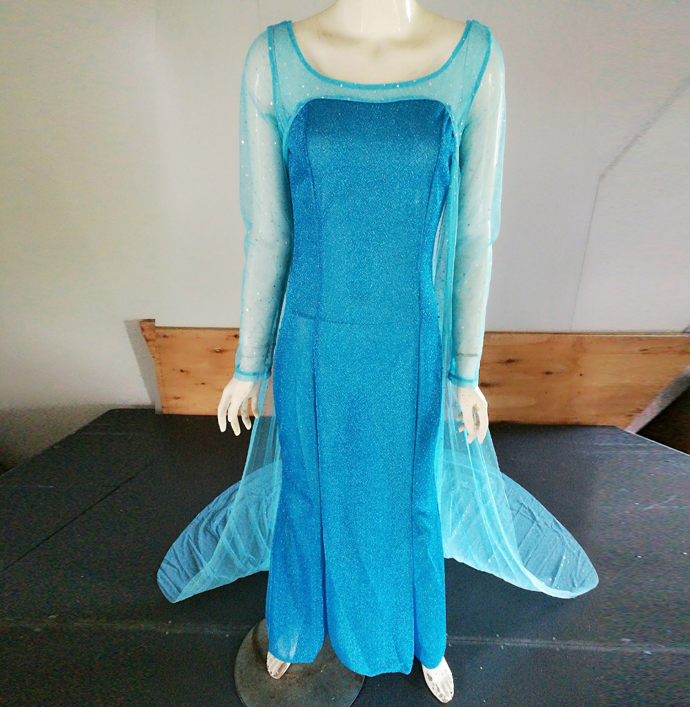 2017 Anna Elsa Dress Long Sleeve Fashion Shawl Princess Adult Dress ...