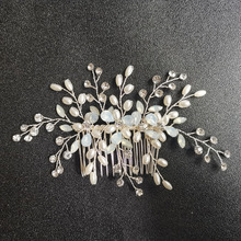 SLBRIDAL Silver Clear Crystal Rhinestones Pearls Flower Wedding Jewelry Hair Comb Bridal Headpieces Accessories Bridesmaids