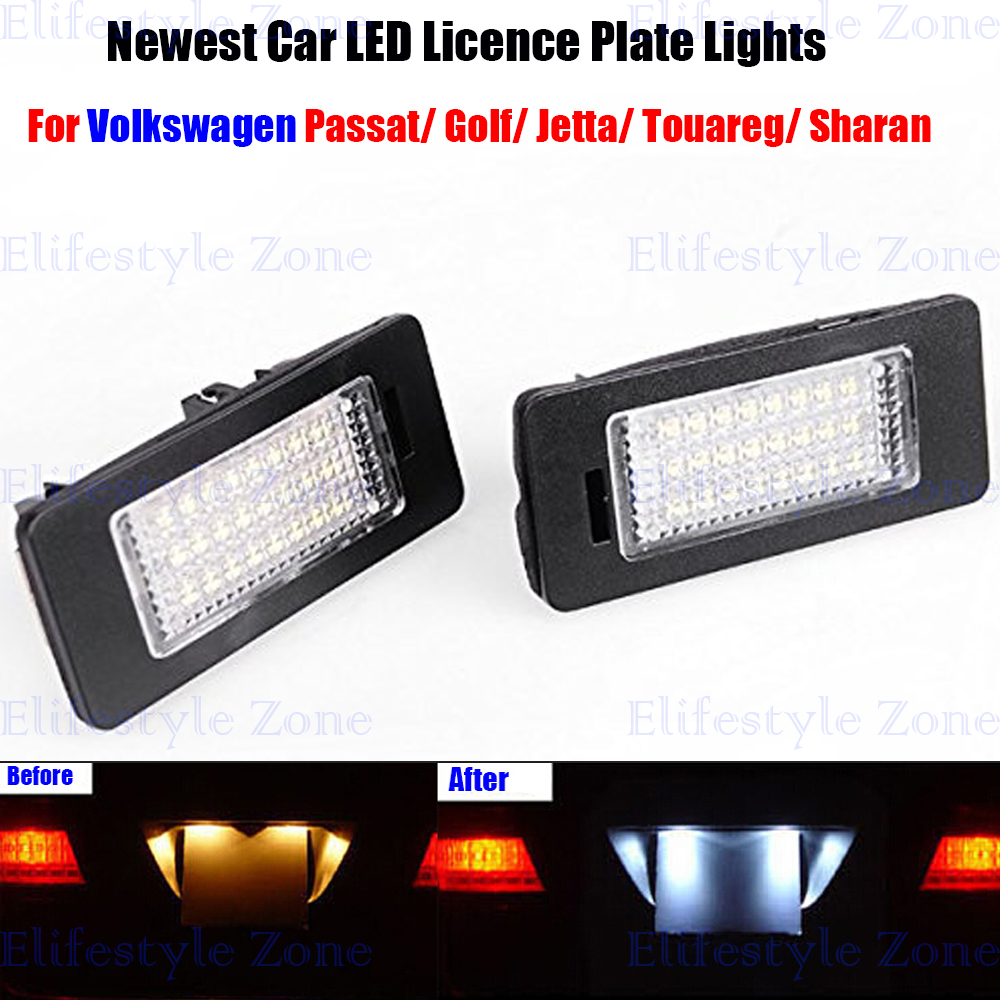 2 x LED Number License Plate Lamp OBC Error Free 18 LED For Volkswagen VW Golf Jetta Passat Sharan Touareg