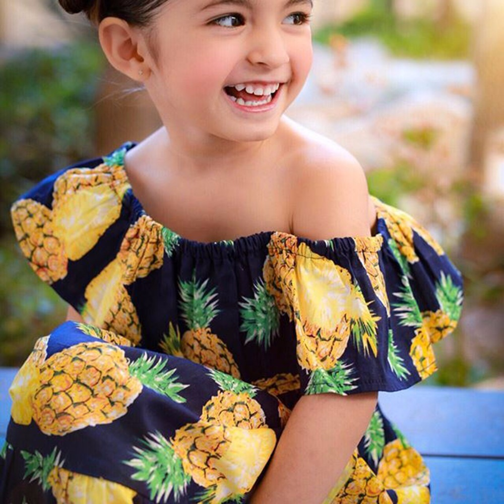 2b74929cda Puseky 6 5T 2pcs/set Baby Girl Tropical Pineapple Boat Neck Cropped ...