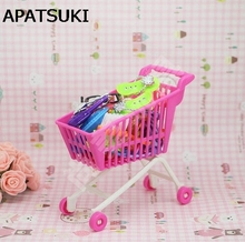 Kids Toy Dollhouse Mini Cute Supermarket Pretend Play Handcart Shopping Cart Mode Storage Accessores Toys for