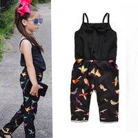 Peuter meisjes zomer overalls zwart print lange broek meisjes jumpsuit kinderen romper overalls kids baby meisje jumpsuit