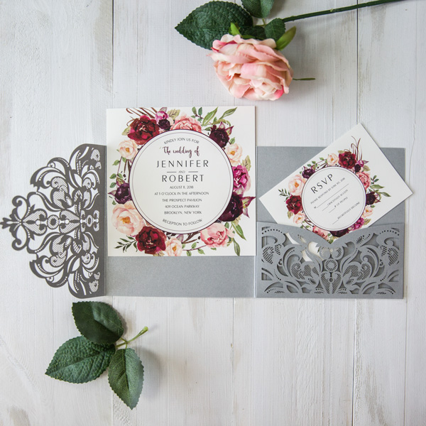 Floral Wedding Card Manufacturer From Hosur: Aliexpress.com : Buy 1pcs Samples Gray Square Flowers Tri