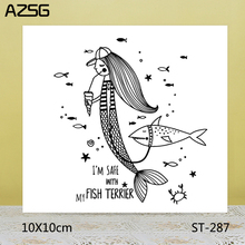 AZSG Drinking Mermaid / Quiet Shark Clear Stamps/Seals For DIY Scrapbooking/Card Making/Album Decorative Silicone Stamp Crafts