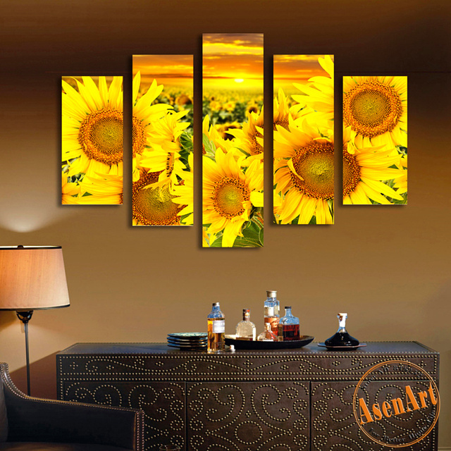 5 Panel Canvas Prints Art Blooming Sunflowers Oil Painting Floral ...