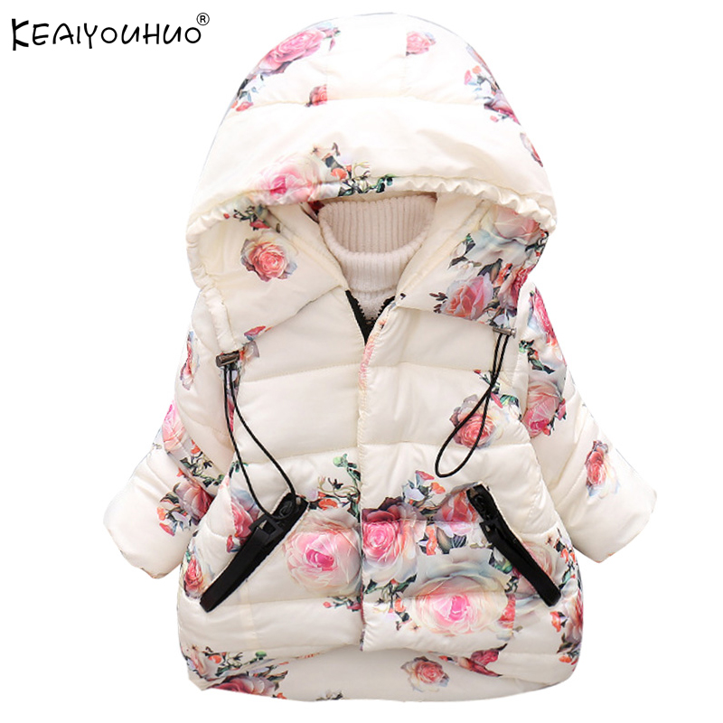 KEAIYOUHUO 2017 New Winter Girl Down Jacket Kids Coats Children Clothes Printing Jackets For Girls Coats Cotton Hooded Outerwear fashion girl thicken snowsuit winter jackets for girls children down coats outerwear warm hooded clothes big kids clothing gh236
