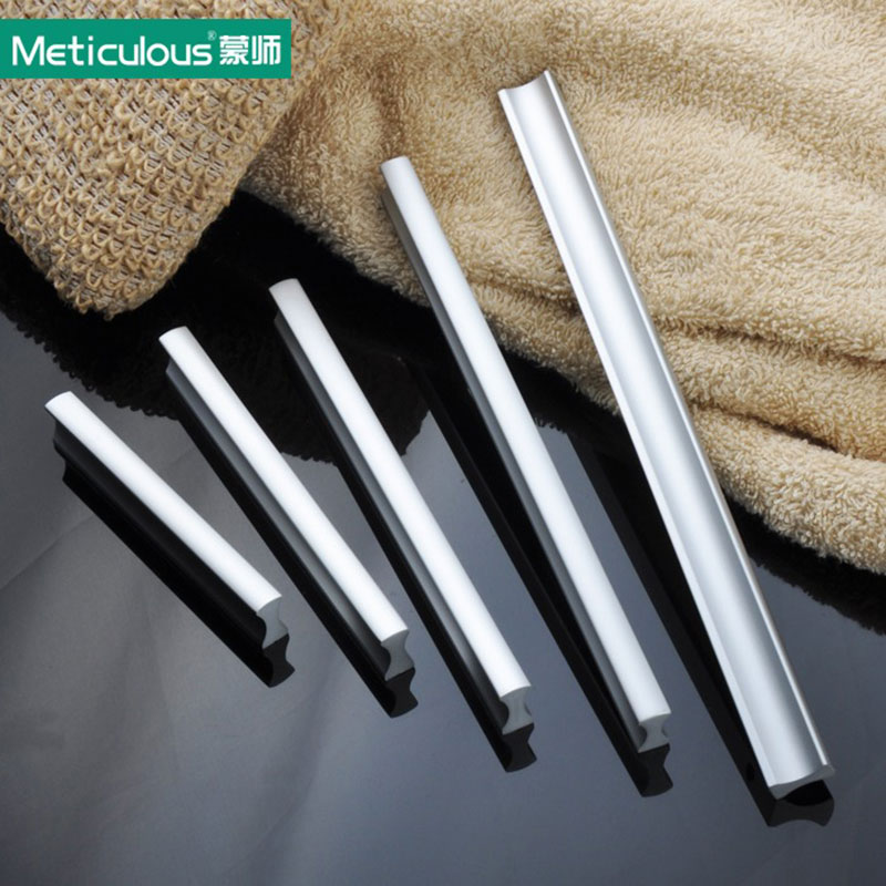 Meticulous Aluminum door handle matte Kitchen dresser handles Cabinet drawer Knob modern Furniture cupboard knobs 160mm 192mm chic sunflower pewter kitchen cabinet knobs drawer dresser pulls handles cupboard closet door knob modern furniture hardware