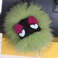 Kiki Monster Pom Pom Bola Llavero De Piel Real de Piel De Zorro Bola De La Muñeca Mullido Pom Pom clave Llavero Anillo Llavero Bolsa Colgante Encanto