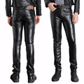 Male Black Faux Leather Pants Motorcycle Biker Ridding PU Trousers For Men Fashion Slim Fit Pencil Pant