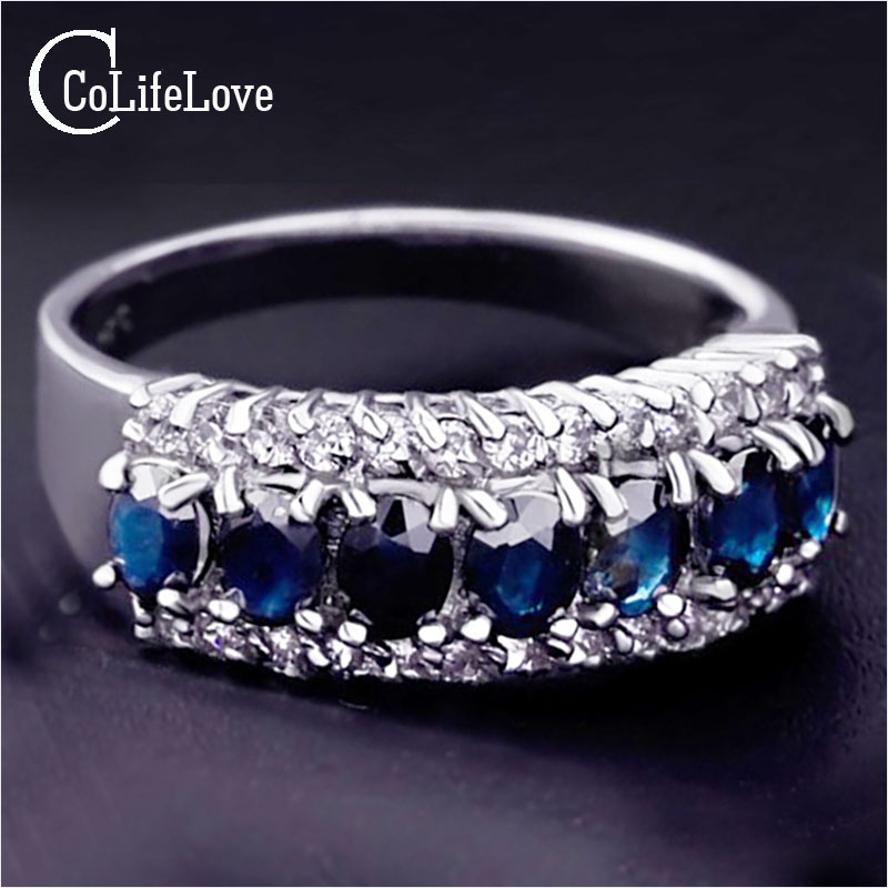 Classic  Sapphire Ring for girlfriend 7pcs genuine dark blue sapphire silver ring solid 925 silver gemstone ring romantic gift