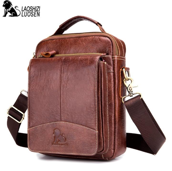 LAOSHIZI LUOSEN Messenger Bag Men Genuine Leather Shoulder Bag Men s bags Small Flap Casual Crossbody