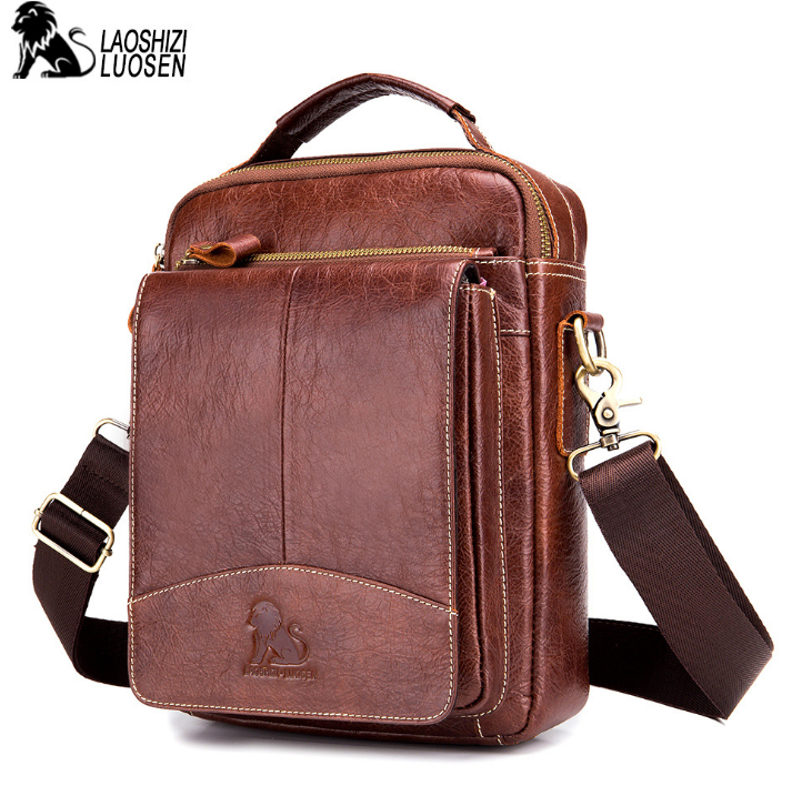 LAOSHIZI LUOSEN Messenger Bag Men Genuine Leather Shoulder Bag Men's bags Small Flap Casual Crossbody Bags for male Handbag 2019-in Crossbody Bags from Luggage & Bags    1