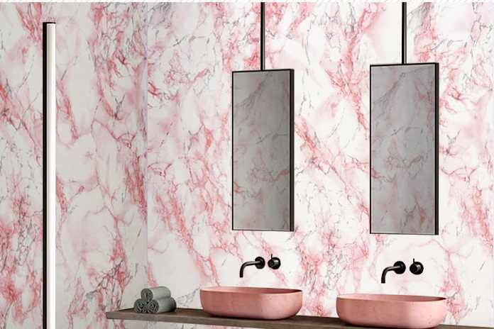 Marble Self Adhesive Wallpaper Furniture Tiles Kitchen Bathroom Backsplash Vinyl Decor Wall Sticker Wall Paper Pink Stone
