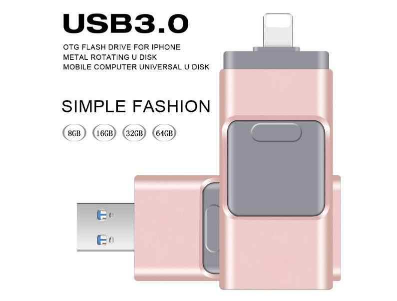 フラッシュドライブ iphone の usb フラッシュドライブ 3 で 1 雷 OTG ペンドライブ USB 3.0 ペンドライブ 128 ギガバイトメモリスティック互換性アップル ipad PC
