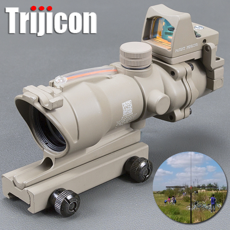 Acog 4x32 Tan Tactical Real Fiber Optic Red Illuminated Collimator Red Dot Sight Hunting Riflescope Riser