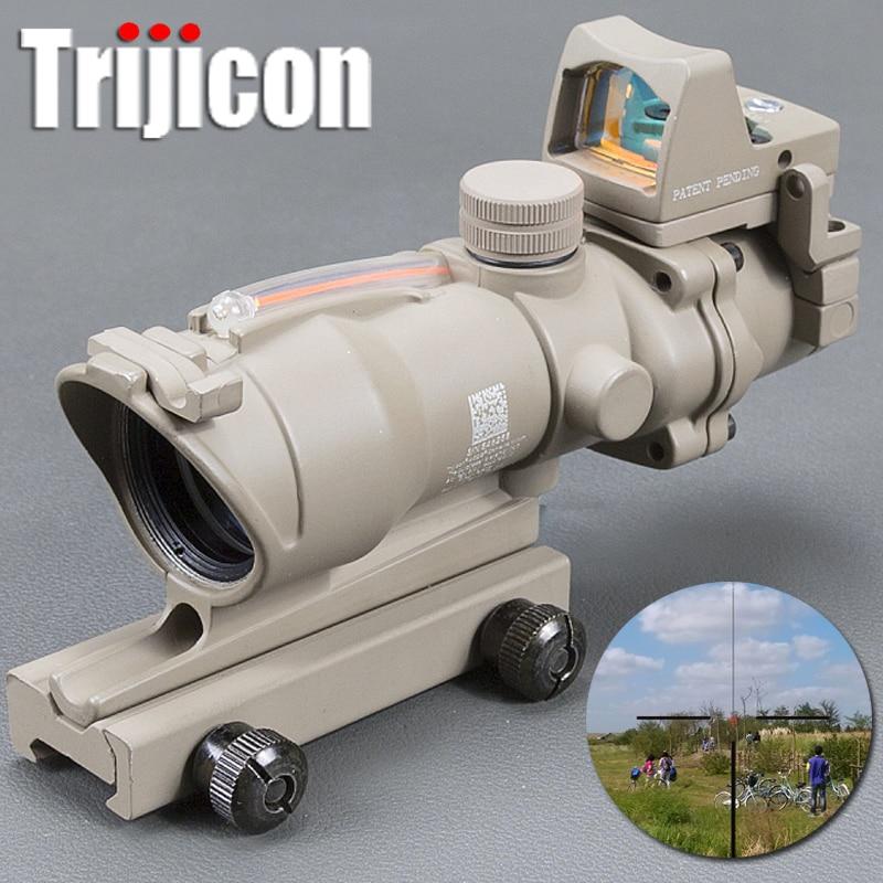 Acog 4x32 Tan Tactical Real Fiber Optic Red Illuminated Collimator Red Dot Sight Hunting Riflescope Riser Scope цена и фото
