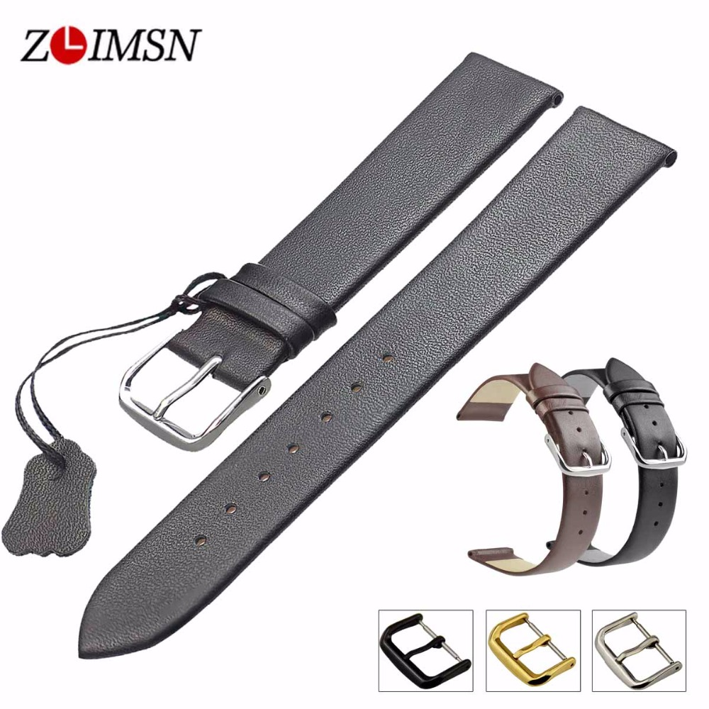 ZLIMSN Genuine Leather Watchband Smooth Soft Thin Watch Band Belt Suitable for Longines 18mm 20mm 22mm Strap Watches Accessories 20mm 22mm 24mm 26mm khaki genuine leather watchband retro type watchband suitable for pam watches and rough watch free shipng
