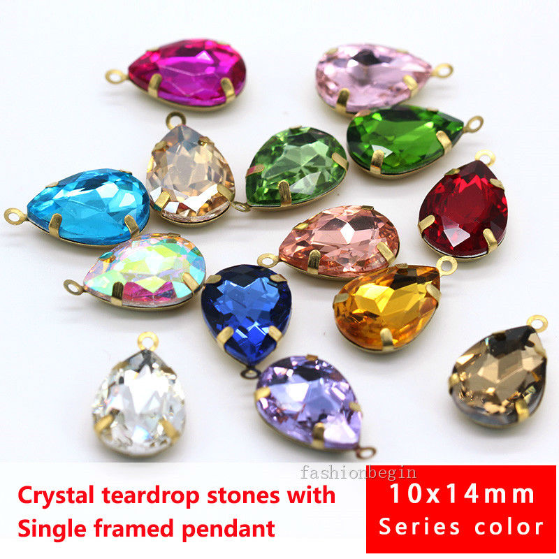 52 Pieces Water Drop Pendants Crystal Beads Pendants Charms Rhinestone Teardrop Pendants Jewelry Findings for Girls Women DIY Necklace Jewelry Making 7 x 10 mm 13 Colors