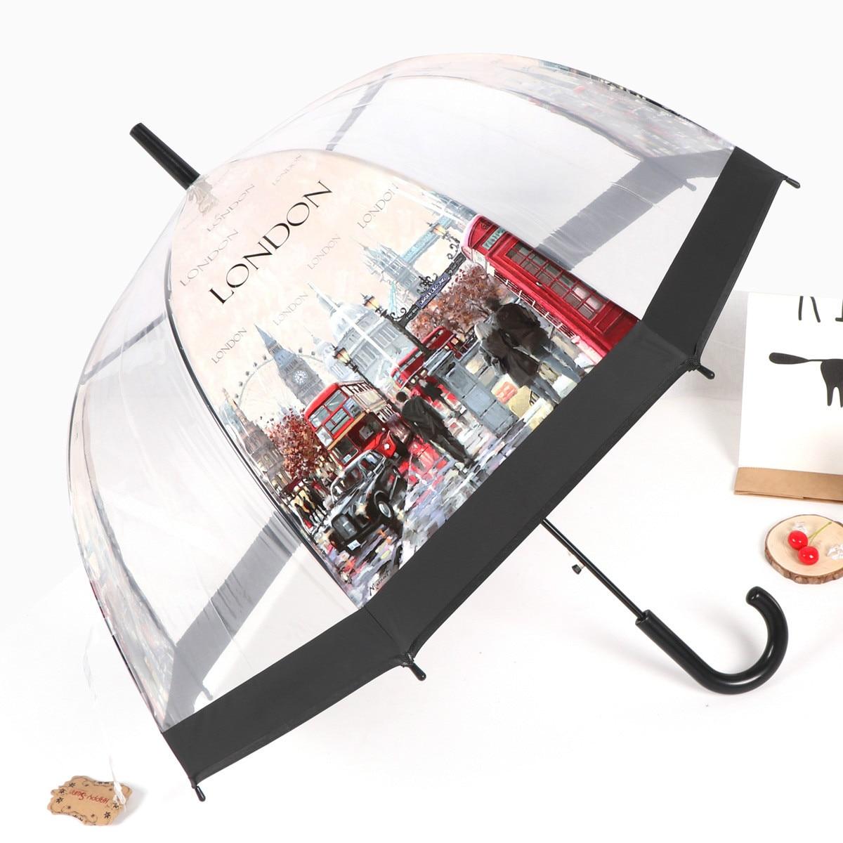 Estilo Europeo paraguas edificio vista a la calle transparente paraguas respetuosos con el medio ambiente engrosada Apollo jaula de pájaro paraguas