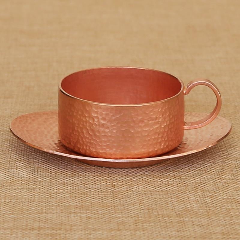 Fait à la main rétro pur cuivre rouge tasse à café thé thé eau vin tasse cuillère ensemble drinkware