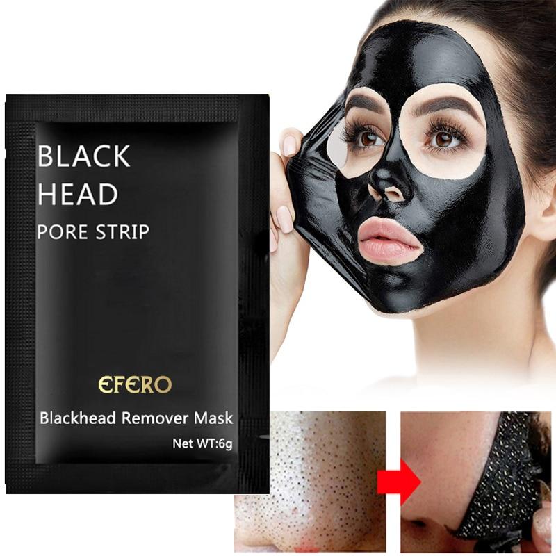 3/5/7/10 pack EFERO Preto Casca Máscara Máscara Facial Acne Removedor de Cravo Máscara Nariz Preto fora Dos Poros Máscaras Cuidados Com A Pele Casca de Cabeça Preta