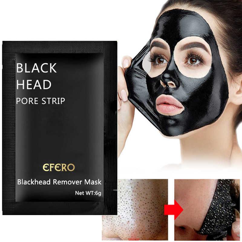 3/5/7/10 paquete EFERO máscara de cara negra removedor de espinillas de acné mascarilla negra fuera de poro negro cabeza Peel mascarillas cuidado de la piel