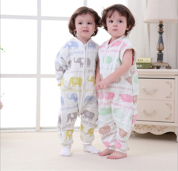Muslin Baby Sleeping Bag Winter 6 Layers Cotton Kids Long Sleeve Sleepware 0-5 years Children Cotton Sleepsack Baby Sleepwear ...