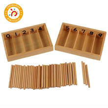 Montessori Children Teaching Aids Wood Math Toy Spindle Box With 45 Spindles Numbers Materials Educational