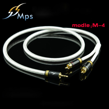 цена на MPS M-4 High End 3.5mm to 2 RCA Audio cable 6N OFC HiFi 99.9997% 24K Gold Plated Plug Speaker cable Free Shipping