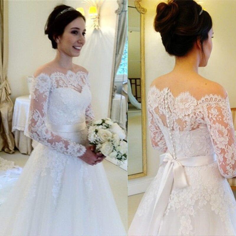Favoritos Vestido de casamento vestido de noiva manga longa elegant long  EN55