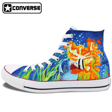 Men Women Shoes Converse All Star Sea World Underwater World Original Clown Fish Design Hand Painted Shoes High Top Sneakers