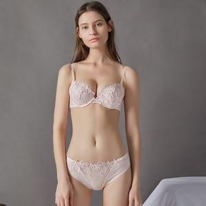 Image 3 - Lilymoda sutiã feminino breve define sexy bordado floral push up cup bra e calcinha sem costura calcinha feminino sutiã lingerie vermelho