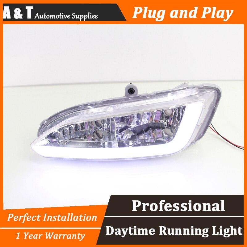 A&T car styling For Hyundai IX45 2013-2015 LED DRL For Hyundai IX45 2013-2015 led fog lamps DRL High brightness guide LED DRL 2pcs car led drl daytime running light for hyundai ix45 2013 2014 2015 fog light drl fog lamp 12 led 1pair lot