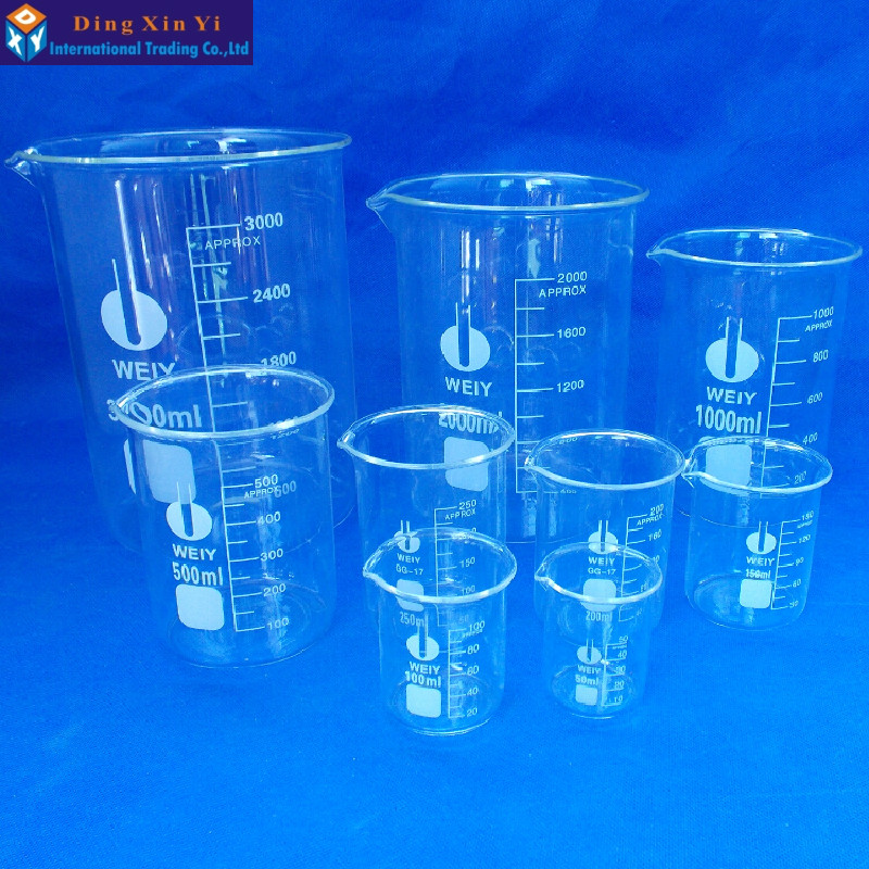 Um conjunto copo de vidro conjunto claro 5ml 10ml 25ml 50ml 100ml vidro vidro borosilicate laboratório suprimentos educacionais