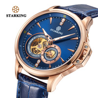 STARKING Top Brand Luxury Watch Relogio Masculino Sapphire Crystal Rose Gold Blue Watches Men Mechanical Self wind Wrist Watches
