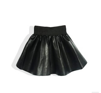 Wholesale girs leather skirt fashion cute princess black skirts autumn and winter clothes for girl free shipping