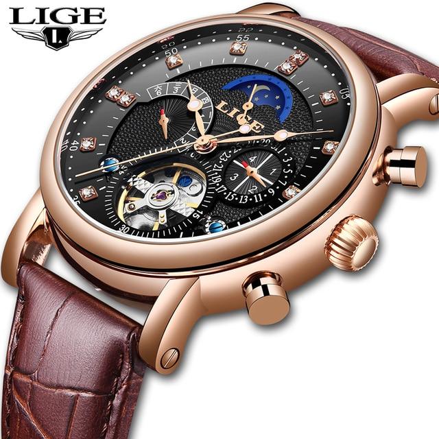 Watches Men Mechanical-Watch Moon-Phase Sport-Tourbillon Automatic-Top LIGE Luxury Brand