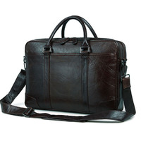 Genuine Leather black men bag men handbag business package 15 inch computer bag briefcase double main bag