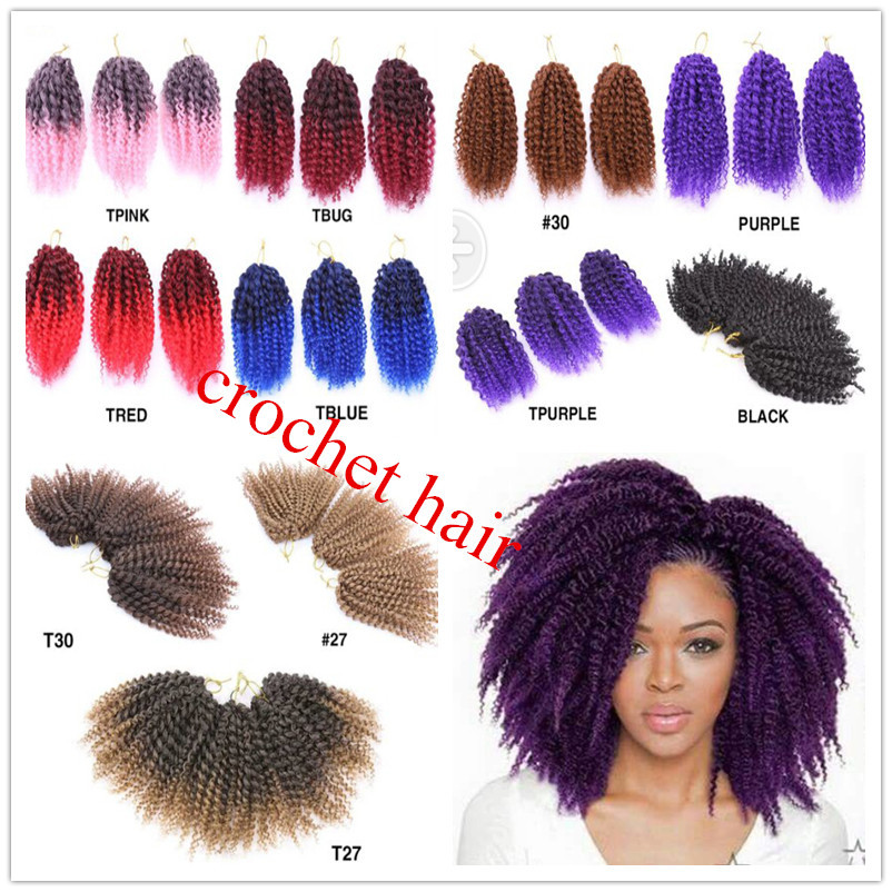 Afro Kinky Curly Twist Crochet Braids Malibob Marley Hair Extensions