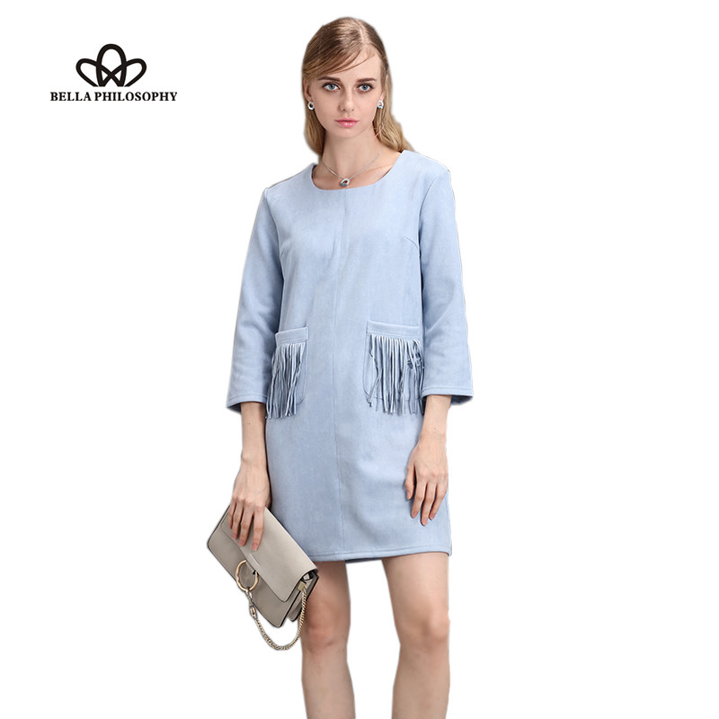 2017 autumn dress women pocket tassels fringed pink black blue faux suede dress long sleeve vestidos ladies vintage mini dress
