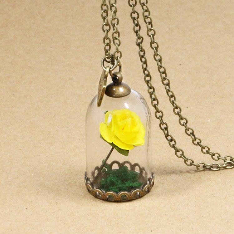 HTB16MVnQFXXXXcLXFXXq6xXFXXXI - 1PC jewelry Beauty and the Beast Necklace Wish Rose Flower in Glasses Pendant Necklace PTC 198