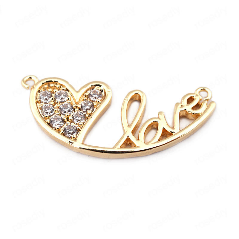 (33699)4PCS 25*11MM 24K Gold Color Brass with Zircon Heart LOVE Charms Pendants High Quality Diy Jewelry Findings Accessories