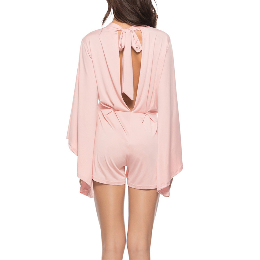 Solid Straight Playsuits Women Sexy Bodycon Long sleeve Batwing Sleeve  Backless Cocktail Party Jumpsuit  0913 A 487-in Rompers from Women s  Clothing on ... 32a6c21c44da
