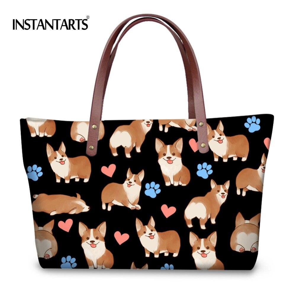 INSTANTARTS Women Large capacity Handbags Cute Dog Ladies Tote Shoulder Bags for Shopping Fashion Brand Designer Top Handle Bag