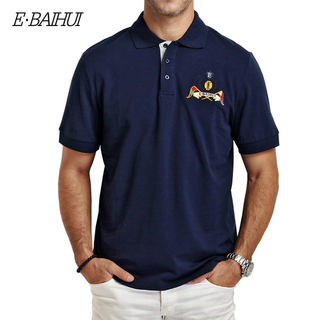 E-BAIHUI 2016 New Men Casual POLO Shirt Slim Summer Polo Mens Cotton Embroidered Men Tee Tops Camisas Polo M L XL XXL P008