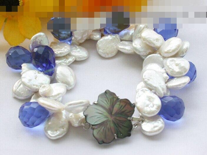 Vente chaude >@@> 09357 2row blanc coin perle bleu goutte à goutte à facettes bracelet en cristal-Mariée bijoux livraison gratuite
