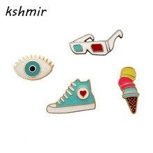 Kshmir брошь дьявол голубые глаза Lunettes De Soleil обувь конус Мороженое капельного значок