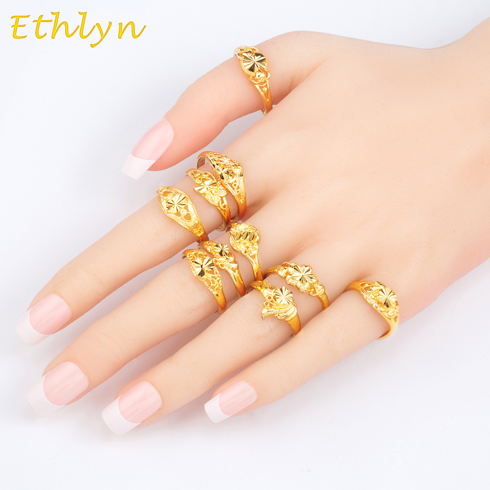 Ethlyn Ethiopian Wedding Women Rings Gold Color Adjustable Jewelry Rings Christmas gift 10 designs/lot mix items  R41 Детская кроватка